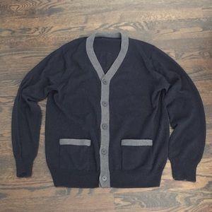 NWOT J. Crew navy cardigan w/gray accent & pockets